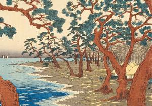 Plage des Maikos, Hiroshige, 1853